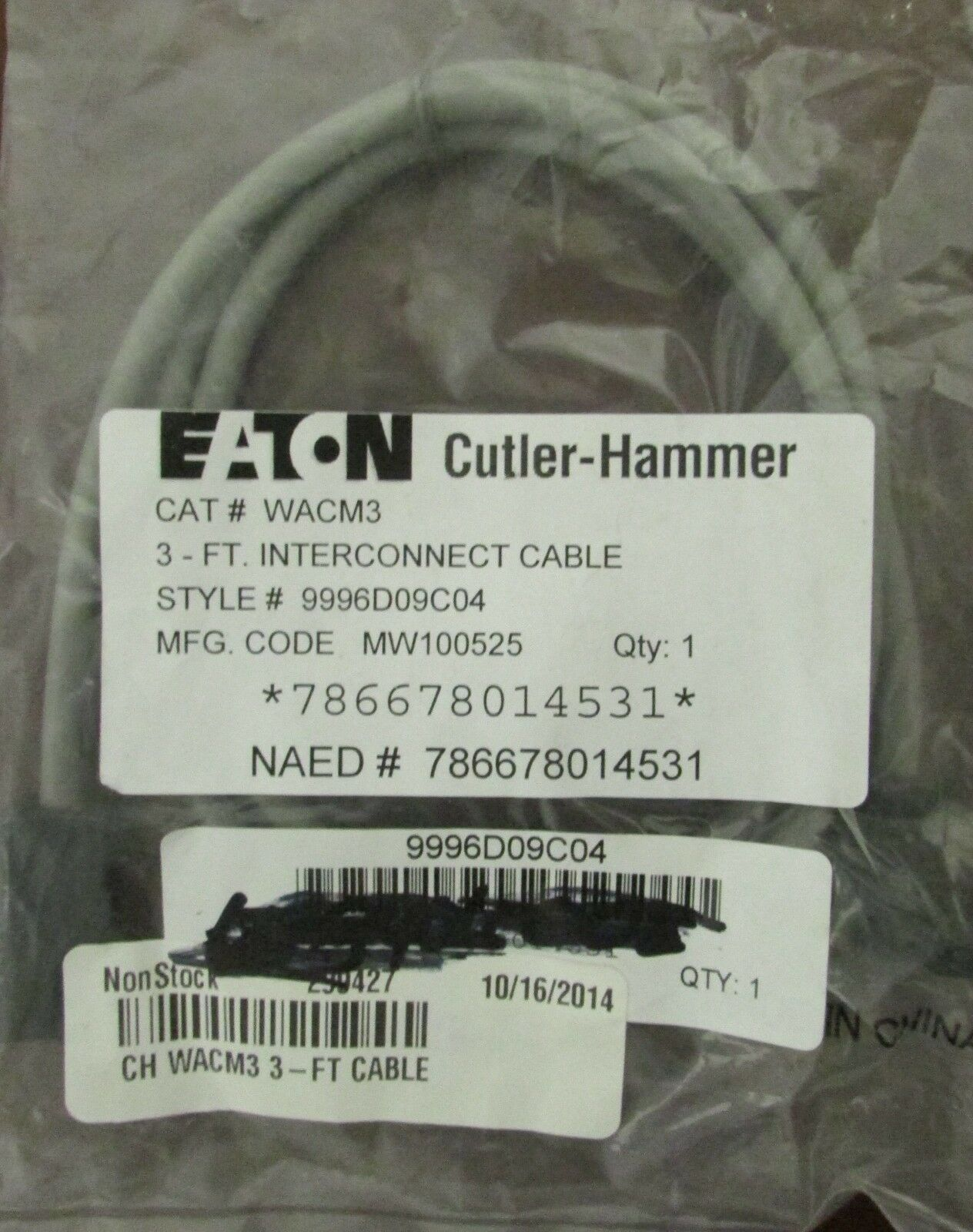 EATON CUTLER HAMMER WACM3 Advantage W200 Interconnect Cable 3 ft. 9996D09C04