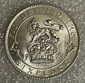Stunning Grade - 1924 Great Britain Silver Sixpence - George V  #51
