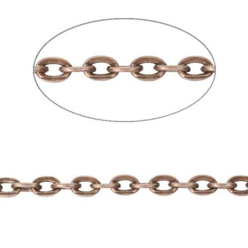 4M 13.12feet Flat Cable Chain Unfinished Chains Necklaces 3.25//3.8//4.2mm Bulk