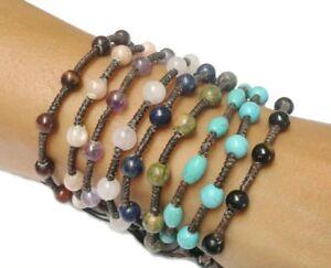 Handmade-Turquoise-BEADED-Gemstone-Fair-Trade-Jewelry-Thai-Wristband-Bracelet