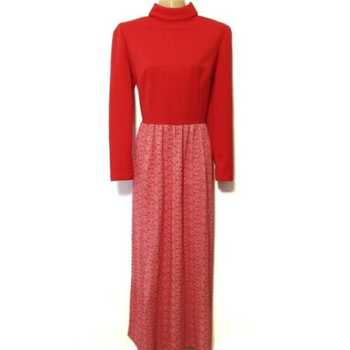 Vintage 60s handmade red mock neck modest maxi dre