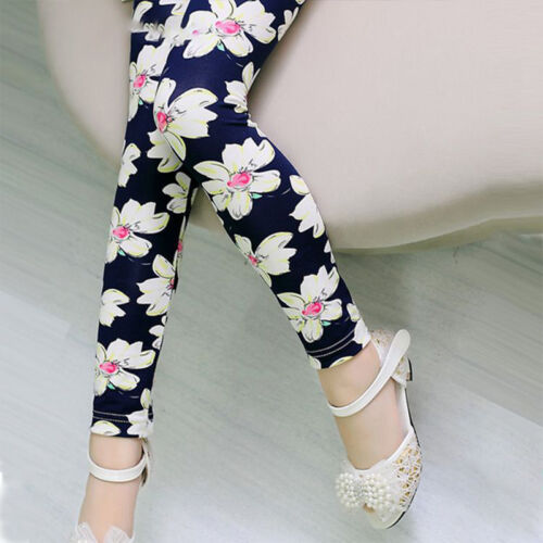 Kids Girls Butterfly Leggings Autumn Skinny Fit Soft Tight Long Trousers 4-12 Y