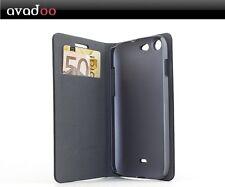 avadoo® Wiko Stairway Flip Case Cover in Schwarz/Rot als Tasche Hülle