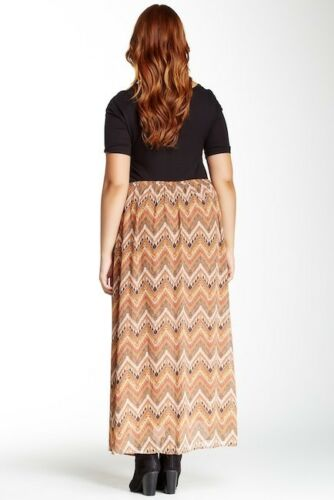 Daniel Rainn Maxi Skirt 3X Plus Size Elastic Waist Abstract Chevron Print Jx3