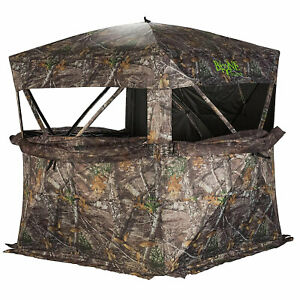 Rhino Blinds R150 Durable 3 Person Outside Game Hunting Ground Blind, Mossy Oak