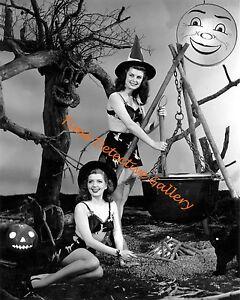 Two Halloween Pin-up Girls Vintage Photo Print 1949