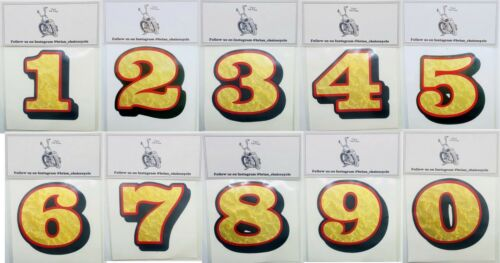 "2"" NUMBER DECAL-Gold Leaf/Red/Black lanesplitter gringo bonanza shield openface"