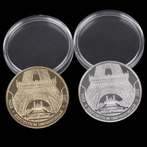 Paris-piece-de-monnaie-commemoratives-en-plaque-or-de-la-tour-Eiffel-souvenIHS
