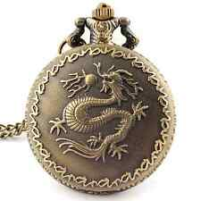Vintage Style Dragon Design Pocket Watch Necklace Steampunk Gothic with Chain