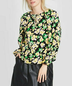 Who-What-Wear-Women-039-s-Top-Floral-Balloon-Sleeve-Blouse-Green-Size-M-NwT