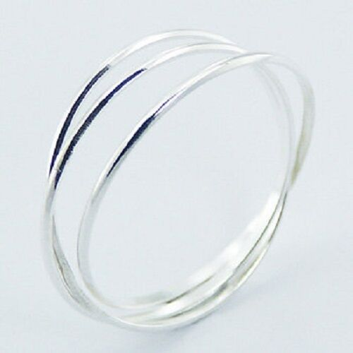 Silver ring interlocked triple 925 sterling delicate band ring size 5.5us