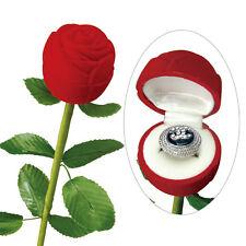 "1 Rose Flocked Jewelry Ring Boxes w/ long Stem, Red Velvet 2"" x 2 3/4"" x 10"""