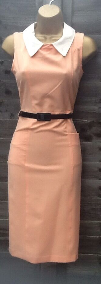 OASIS 50'S PEACH VINTAGE RETRO PENCIL WIGGLE BELTED DRESS SIZE 14