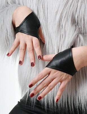 Genuine Leather Lambskin Punk Half Cropped Fingerless Mini Gloves XXS (16.5cm)