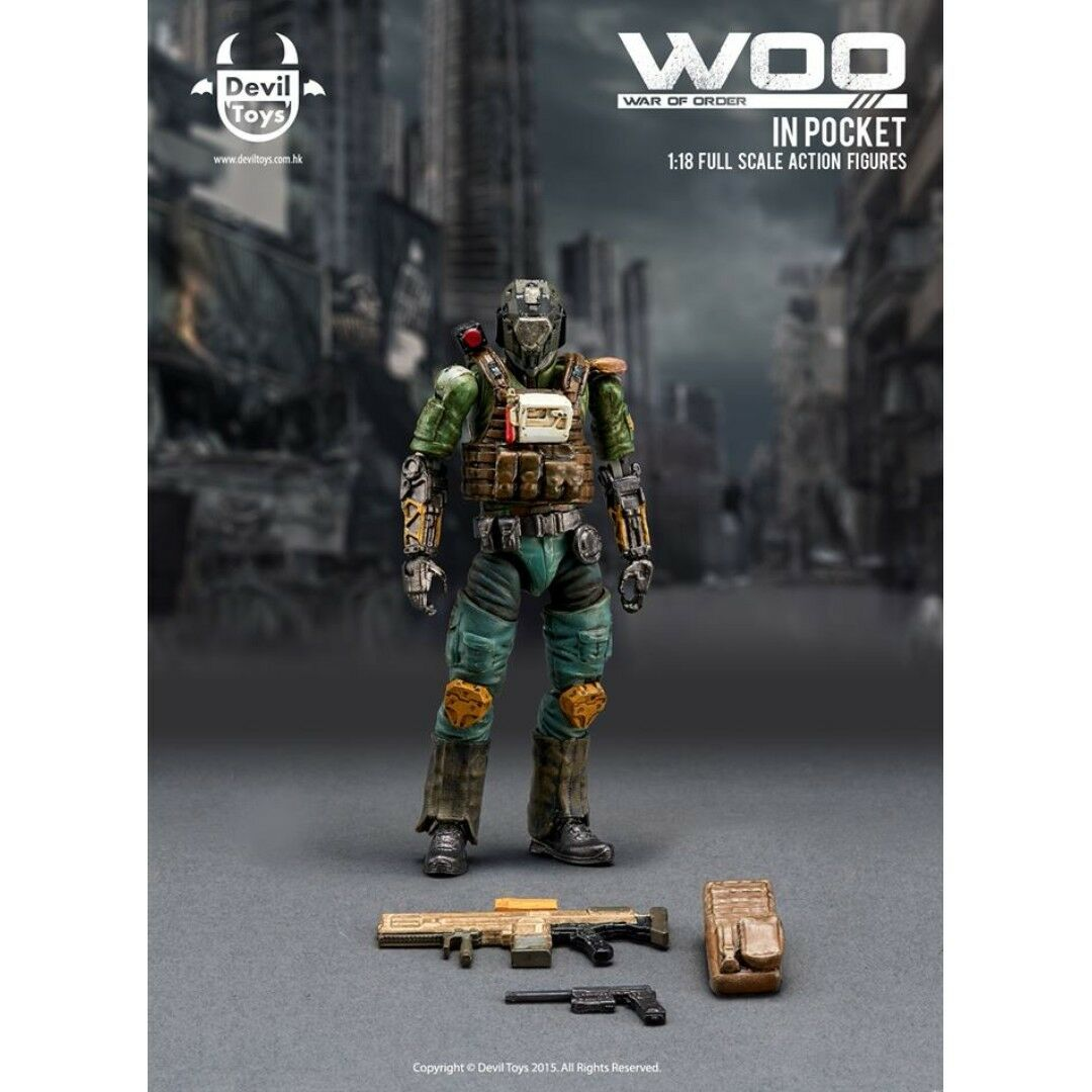 Devil Toys Woo 3.75 Military Action Figures 1/18 Scale   Secret Master NEW