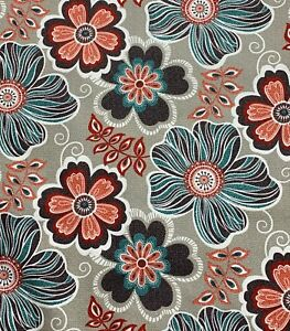Turquoise-Coral-Gray-Whimsical-Large-Floral-Drapery-Cotton-Upholstery-Fabric-BTY