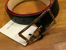 """Paul Smith Leather Belt 30"""" MENS BLACK DECO SUIT BELT Handcrafted in Spain"""