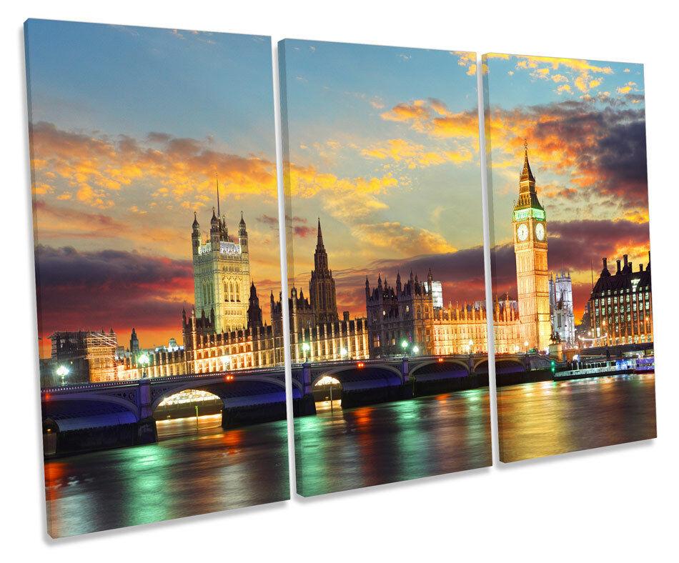 London Skyline Stadt Sunset TREBLE CANVAS Wand Kunst Box Framed Bild