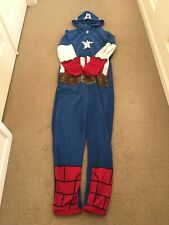 NWT Marvel Avengers Boys/' Captain America Hooded One Piece Zip Up Pajamas Size 4