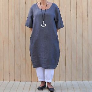 fb66a634135 Ladies Lagenlook Quirky Quality Linen Tunic Top Dress 14 16 18 20 22 ...