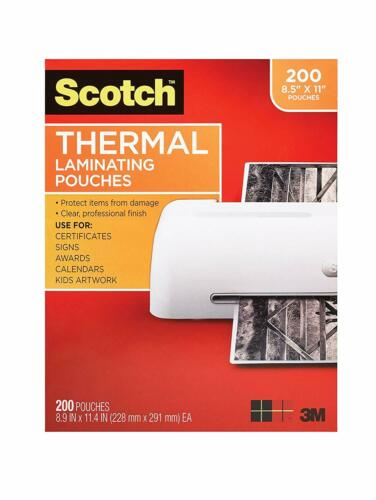 "3M Scotch 8.9/"" x 11.4/"" Thermal Laminating Pouches 200 Pack TP3854-200 3 Mil"