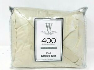 4-pc-Bright-FULL-100-Cotton-Sateen-400-Thread-Count-Wamsutta-Sheet-Set-IN-TAUPE