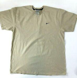 Mens-Nike-T-Shirt-Beige-Tan-Embroidered-Mini-Swoosh-Size-XL-Travis-Scott-Vtg