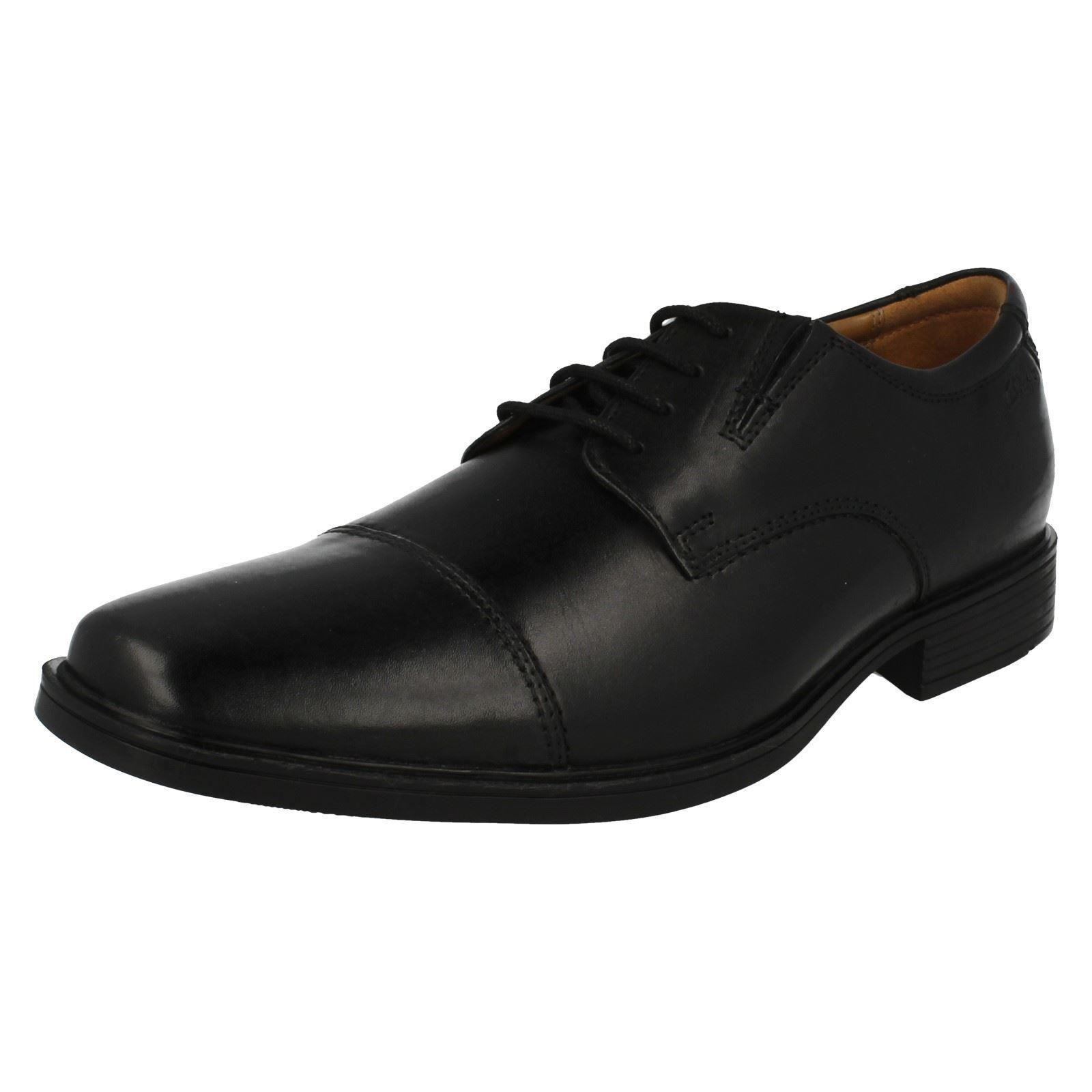 Clarks Mens Tilden Cap Mens Black Leather Shoes G Fit (R19A)