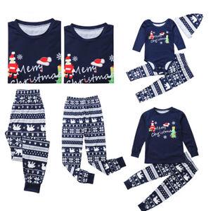 bb50a07c3e USA Christmas Family Matching Pajamas PJs Set Dad Mum Kids Baby Xmas ...