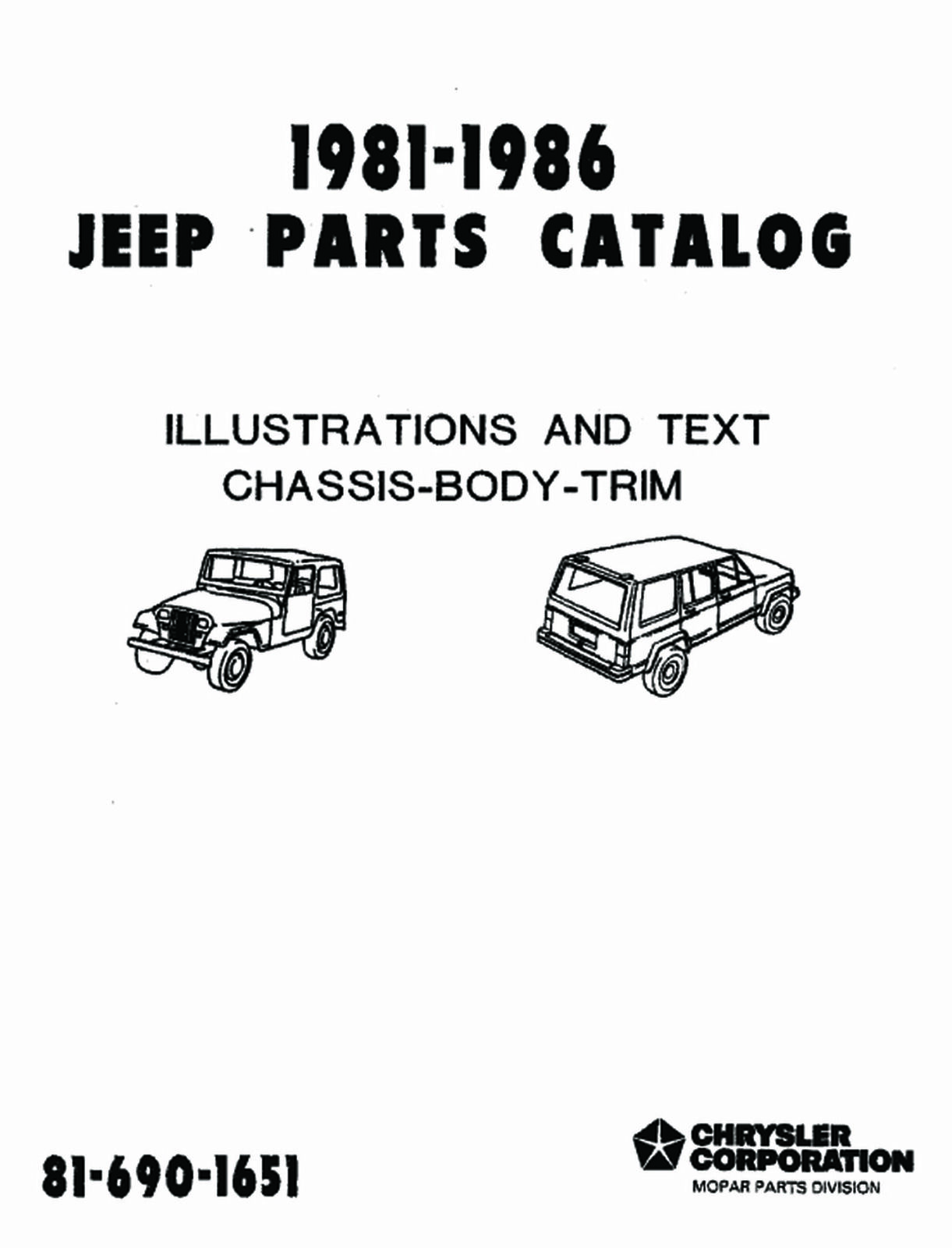 FEO Repair Maintenance Parts Book Loose Leaf for Jeep All Models 1981-1986