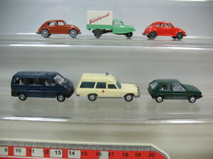 S851-0,5# 6x Wiking H0 Modelle: Volkswagen VW Golf, Käfer, T4, Goli Eildienst…