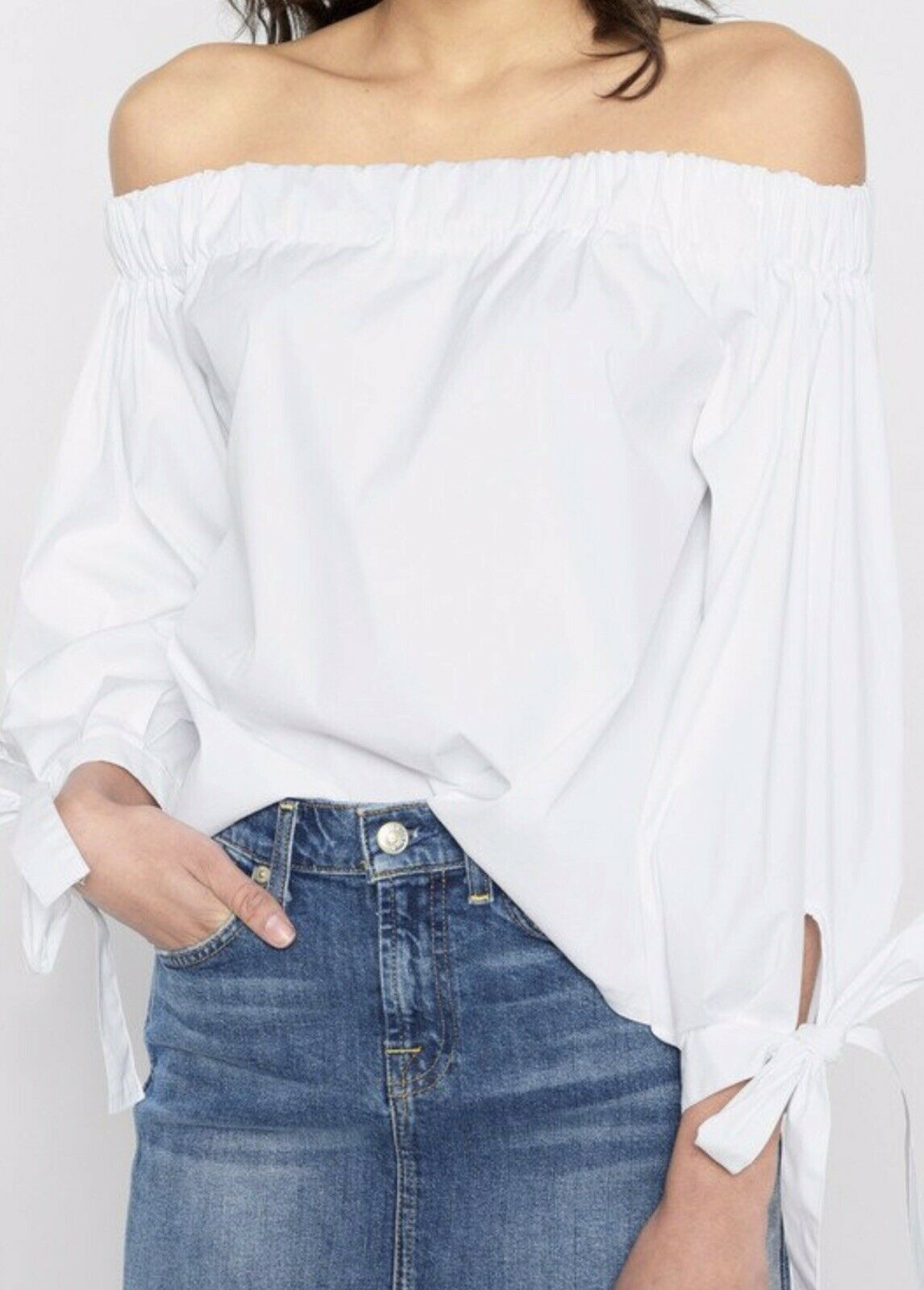 NWT 7 For All Mankind Off The Shoulder Tie Sleeve Weiß Top, Small