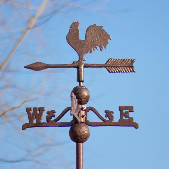 Wetterhahn Wetterfahne HAHN Wandmontage Gusseisen Metall Windrichtung Anzeiger