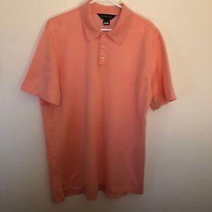 Brooks-Brothers-Mens-Peach-Polo-Shirt-100-Mercerized-Cotton-Short-Sleeves-Sz-XL
