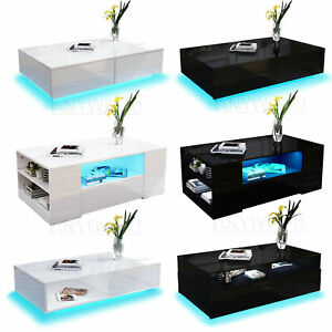 Details About Modern High Gloss Coffee Tea Table Storage Drawers Shelves With Rgb Led Light