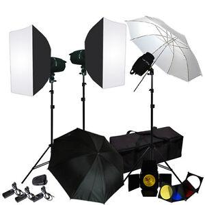 Lusana Studio Photo Umbrella Softbox 3 Flash Strobe