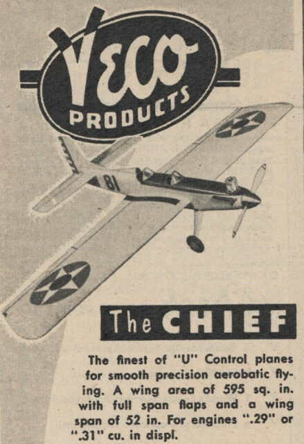 Details about Model Airplane Plans (UC): Vintage 1951 Veco Chief 52