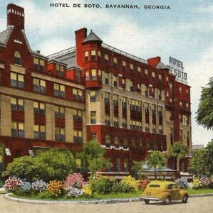 Postcard-Hotel-de-Soto-Savannah-Georgia-Natural-Color-Card-E-C-Kropp-Linen-28194