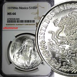 Mexico-ESTADOS-UNIDOS-MEXICANOS-Silver-1979-Mo-100-Pesos-NGC-MS66-GEM-KM-483-2