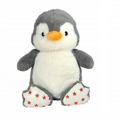 """Cloud-b Dreamy Hugginz Grey Penguin Plush Red Star Accents 12/"""" Tall Holiday"""