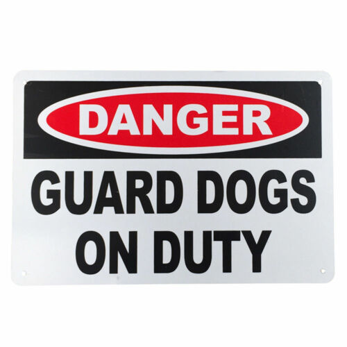 3x WARNGING SIGN GUARD DOGS ONDUTY DANGER 200x300mm AL Security Protect Quality