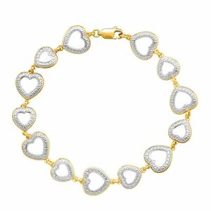 Heart-Link-Bracelet-with-Diamond-in-14K-Yellow-Gold-Plated-Sterling-Silver