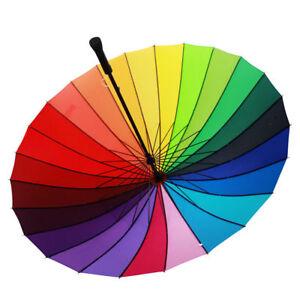 38140464cd037 Image is loading Multicolour-Windproof-Rainbow-Umbrella-Sun-Rain-Parasol -Wedding-