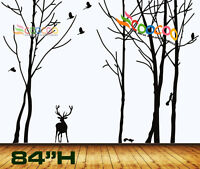 "Wall Decor Decal Sticker vinyl large tree trunk forest,deer, birds, Squires 84""H"