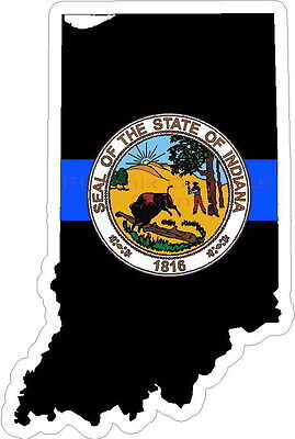 Thin Blue Line Indiana w/ State Seal Reflective Decal Sticker Police Sheriff