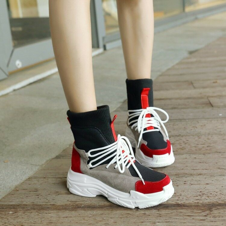 Women Lace up Ankle Boots Athletic Wedge Heels shoes Sneakers Ankle Boots size