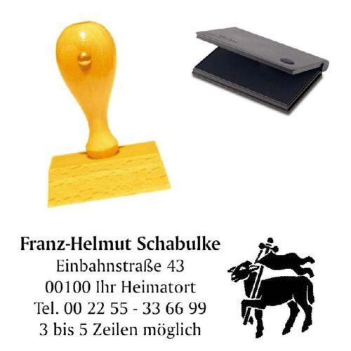 Adressenstempel « FLEISCHER ZUNFT ZEICHEN » mit Kissen Firmenstempel