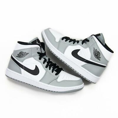 Nike Air Jordan Retro 1 Mid Light Smoke Grey Black White 554724 ...