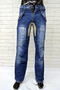 Jeans-Uomo-YELL-Taglia-Size-29-Pants-Man-Pantalone-Cargo-Denim-Cotone-Blu-Top