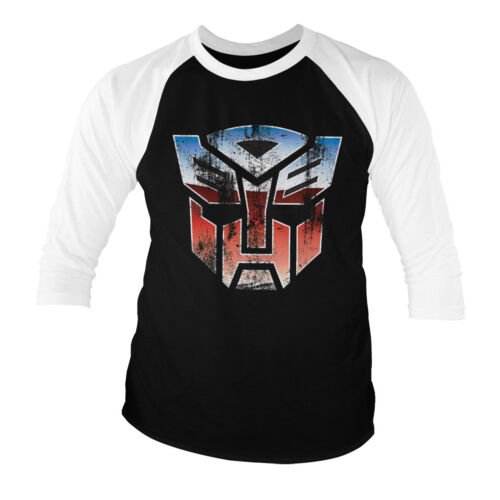 Officially Licensed Transformers Autobot Distressed Baseball 3//4 SleeveT-Shirt